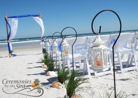 Premium Raised Wedding Flower Aisle Glass Globes ♥ Ceremonies by the Sea New Smyrna Daytona Beach Wedding Officiant Ceremony Decor Volusia County