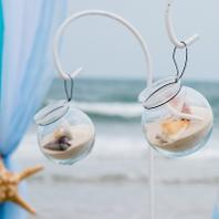 Raised Wedding Aisle Glass Globes ♥ Ceremonies by the Sea New Smyrna Daytona Beach Wedding Officiant Ceremony Decor Volusia County