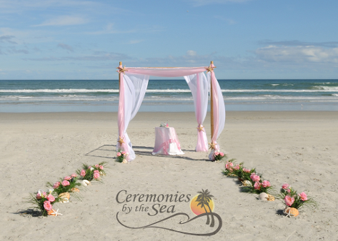 Bamboo Wedding Arbor Pink & Mint ♥ Ceremonies by the Sea New Smyrna Daytona Beach Wedding Officiant Ceremony Decor Volusia County