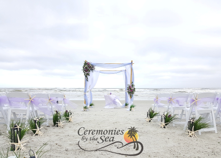 Four-Post Bamboo Wedding Arbor Purple & Turquoise ♥ Ceremonies by the Sea New Smyrna Daytona Beach Wedding Officiant Ceremony Decor Volusia County
