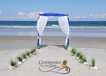 Bamboo Wedding Arch Navy Blue♥ Ceremonies by the Sea New Smyrna Daytona Beach Wedding Officiant Ceremony Decor Volusia County