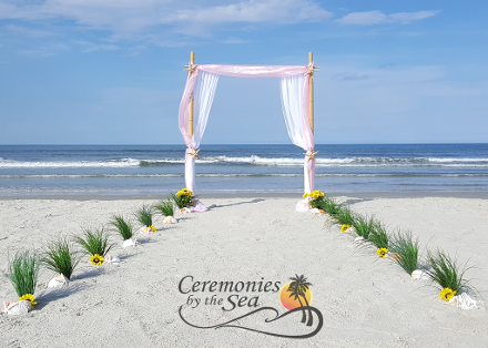 Two-Post Bamboo Arch Pink Organza ♥ Ceremonies by the Sea New Smyrna Daytona Beach Wedding Officiant Ceremony Decor Volusia County