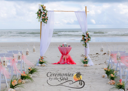 Two-Post Bamboo Arch Organza ♥ Ceremonies by the Sea New Smyrna Daytona Beach Wedding Officiant Ceremony Decor Volusia County