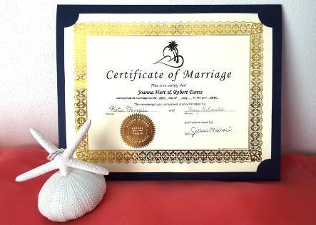 Gold Foil Decorative Marriage Certificate ♥ Ceremonies by the Sea New Smyrna Daytona Beach Wedding Ceremony Décor