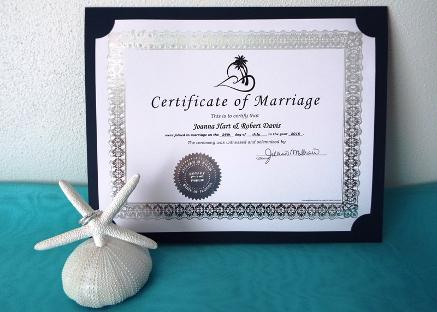 Silver Foil Decorative Marriage Certificate ♥ Ceremonies by the Sea New Smyrna Daytona Beach Wedding Ceremony Décor