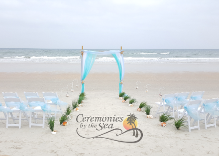 Two Post Bamboo Arch Organza Ceremonies By The Sea New Smyrna Daytona Beach Wedding