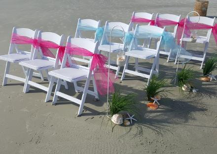 White Wedding Chairs Red Sashes ♥ Ceremonies by the Sea New Smyrna Daytona Beach Wedding Officiant Ceremony Decor Volusia County