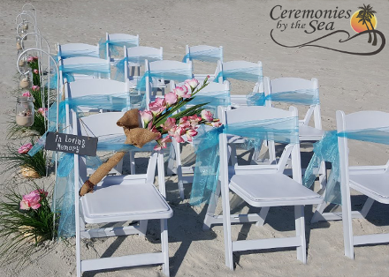 White Chairs Aqua Sashes ♥ Ceremonies by the Sea New Smyrna Daytona Beach Wedding Officiant Ceremony Decor Volusia County