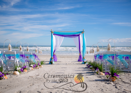 Four-Post Bamboo Wedding Arbor ♥ Ceremonies by the Sea New Smyrna Daytona Beach Wedding Officiant Ceremony Decor Volusia County