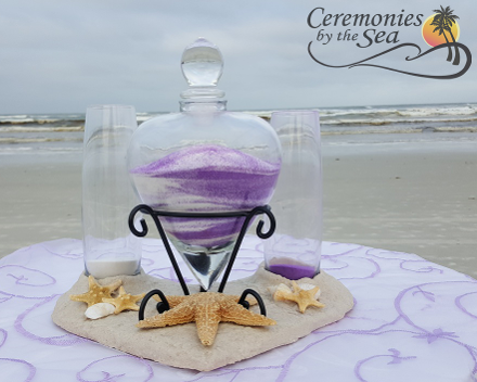Lillian Rose Sand Ceremony Two Colors ♥ Ceremonies by the Sea New Smyrna Daytona Beach Wedding Ceremony Décor