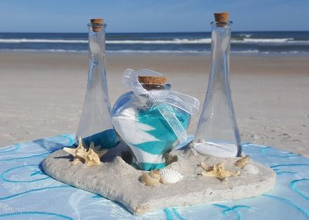 Sand Ceremony Two Colors - shown with Teardrop Vases ♥ Ceremonies by the Sea New Smyrna Daytona Beach Wedding Ceremony Décor